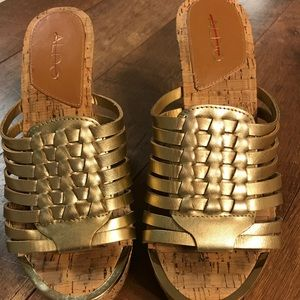 Women's Aldo Gold Wedge Sandals